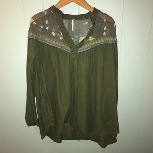 Free people |blouse w/  embroidered sheer shoulder